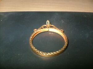 9ct Gold  Full Sovereign Pendant Mount FULLY HALLMARKED Fancy Diamond Cut Design