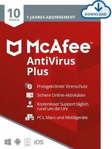 McAfee Antivirus Plus 2021 - 1 / 3 / 5 / 10 Geräte 1 Jahr Vollversion Email TOP