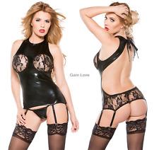 Womens Lace Open Bra Suspender PVC Teddy Bodysuit Fancy G-string Garter Belts
