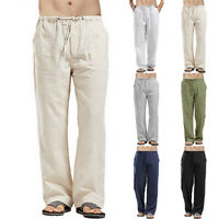 US Mens Casual Linen Straight Trousers Beach Walking Loose Work Pants Plus Size