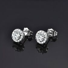 Fit Charm White Gold Filled Stunning Round Sapphire Crystal Womens Stud Earrings