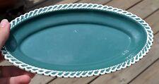 "Vintage HARKERWARE Dark Green Small Oval Serving Dish - 9"""