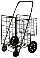 "Folding Shopping Cart With Metal Basket (Size: 39.8"" x 24.4"" x 22.4"", Black)"