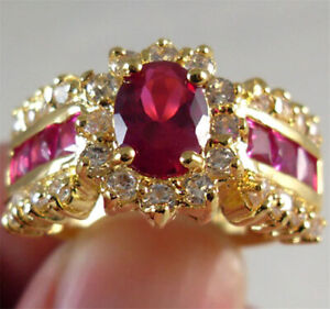 1.0/ct Red Ruby White CZ Wedding Ring Size 8 10KT Yellow Gold Filled Jewelry