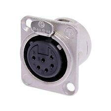 Neutrik NC6FD-L-1 XLR 6 Pin Female, Panel Mount - Solder - Nickel/Silver 1127
