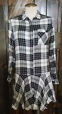 Sam Edelman Black White Plaid Shirt Dress Ruffle Hem Size 0 NWT $119