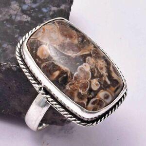 Turtella Jasper Ethnic Handmade Ring Jewelry US Size-11 AR 30250