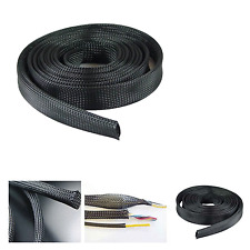 "50'Ft 1"" in Expandable Cable Management Sock Wrap Jacket Cabling Organizer Black"