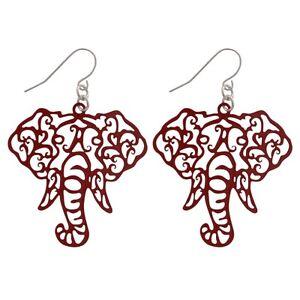New Alabama Crimson Tide Crimson Elephant Fish Hook Earrings, Gift for Her Mom