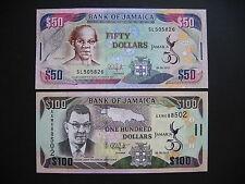 JAMAICA  50 + 100 Dollars 06.08.2012 Commemorative Issue  (P89 + P90)  UNC
