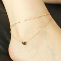 One Pcs Women Gold Love Heart Ankle Bracelet Double Layer Chain Sexy Foot Anklet