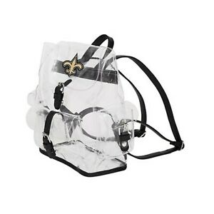 """Football New Orleans Saints Backpack Bag Transparent Clear 12""""x4.5""""x10"""""""