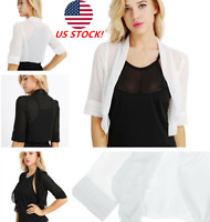 US Women Half Sleeve Sheer Chiffon Bolero Shrug Open Front Jacket Cardigan Shawl