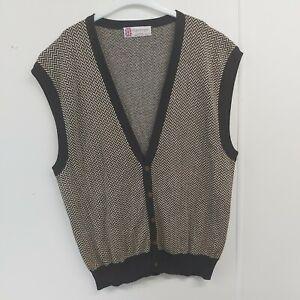 Vintage  Slazenger size L V Neck Tennis  sleeveless  cotton Cardigan  waistcoat