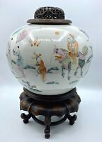 """Antique Chinese 19 Century Porcelain Jar w/ Carved Lid Qilin Gives Children 8.5"""""""