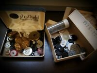 Small Lot Of Vintage Buttons In Vintage Boxes
