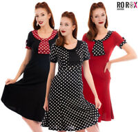 40s 50s Vintage Style Dress Hourglass Trumpet Tea Party Dinner Cocktail Polka