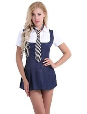 Women Adult Schoolgirl Student Costume Uniform Short Sleeve Fancy Shirt Dress