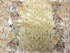 HEAVYWEIGHT LARGE FLORAL BROCADE DESIGN BEIGE RED GOLD CURTAIN UPHOLSTERY FABRIC