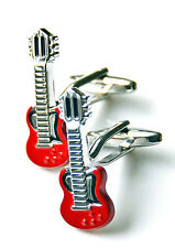 Red Guitar Cufflinks - Groomsmen Gift - Men's Jewelry - Gift Box