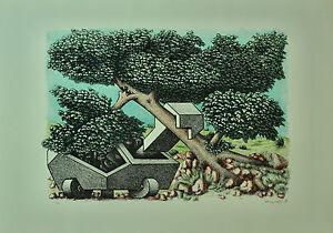 AMBROGIO MAGNAGHI la NATURA   litografia 50x70 anno 1977