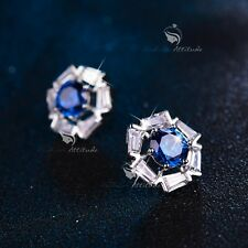 18k white gold filled made with BLUE CLEAR SWAROVSKI CZ crystal earrings stud