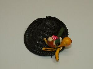 Vintage Tutti Size NAVY Straw Hat w/ FRUIT Accent Clone ACCESSORY