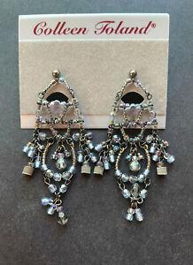 Steel Blue COlleen Toland Chandelier Beaded Pierced Earrings, Vintage