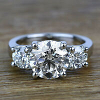 Three Stone 2.34 Carat Round Cut Diamond Engagement Ring 14k White Gold VS1 H