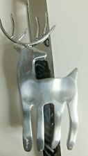 Chrome Reindeer Christmas Wreath Hanger Over The Door Holiday Ornament Holder