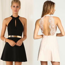 Sexy Women Lace Backless Prom Ball Cocktail Party Mini Dress Evening Short Dress