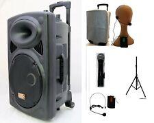 "Mak 12"" Bluetooth Portable PA Active Karaoke Speaker System Wireless Mic Battery"