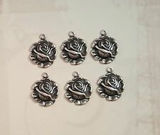 Small Oxidized Silver Rose Charms (6) - SORAT6636/1R