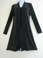 Sparkly Black and Silver Lurex Open Front Long Cardigan/jkt  Sizes:S/M M/L L/XL