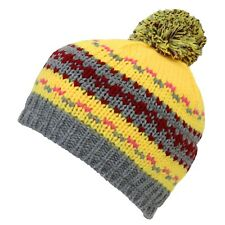 Boys Kids Warm Winter Knitted Bobble Beanie Hat with Pom Pom Age 6-10 Yrs YELLOW