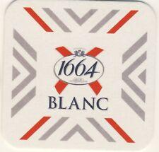 """2 Sous Bocks bierviltje bierdeckel coaster """"1664 BLANC"""" Kronenbourg Nouveau"""