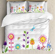 Kids Duvet Cover Set with Pillow Shams Cute Floral Cartoon Art Print