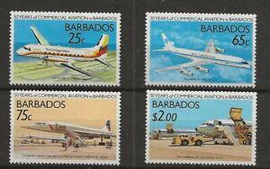 Barbados, Scott 739-42 aviation issue complete set MNH