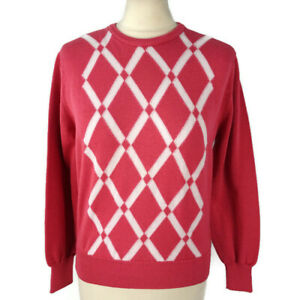 Vintage Jaeger Size 38 UK 10 Pink White Fitted Cotton Diamond Jumper Womens