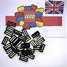 LEGO 50 x Flat Black Plate Bricks With Grille 1x2 - 2412