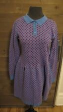 KLING 100% COTTON KNIT 3 BUTTON BLUE AND RED POLKA DOT DRESS SIZE 2 NWT