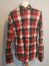 "TOMMY HILFIGER Logo Check Shirt Red Blue  Medium M 38"""