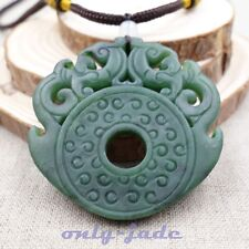 Certified A 100% Natural Green Nephrite Jade Pendant Hand-carved Dragon V4396