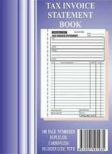 5x 50 Page A5 Tax Invoice / Statement Book Carbonless in duplicate
