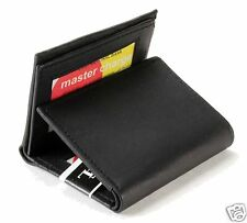 Mens Trifold Leather Wallet Multi Window Credit Card ID Flip Up Case Black 732