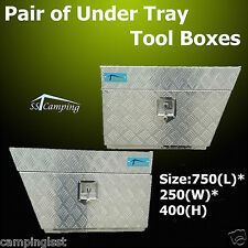 Pair Tool Box Under Tray Body Aluminium UTE Truck Trailer Caravan 750x400x250mm