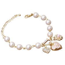 18K Gold Filled Rhinestone Pearls Couple Hearts Design Bangle Bracelet Jewelry