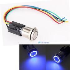 19mm 12V 5A Car Blue LED Light Angel Eye Metal Push Button Toggle Switch Sale UP