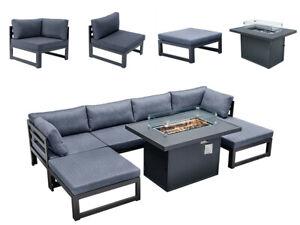 7 Pcs Outdoor Patio Furniture Set Sofa Garden Conversation Set w/Fire Pit Table