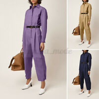 UK Women Full Sleeve Straight Jumpsuit Loose Party Playsuit Boilersuit Size 8-26